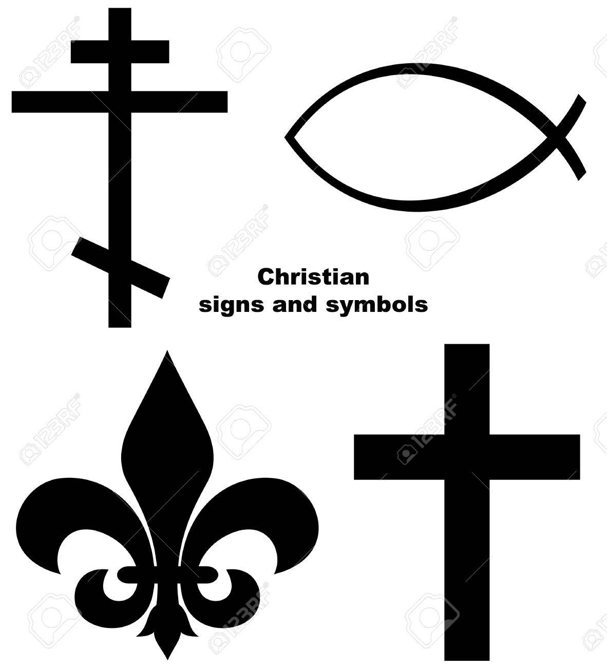Set Of Christian Signs Or Symbols Isolated On A White Background