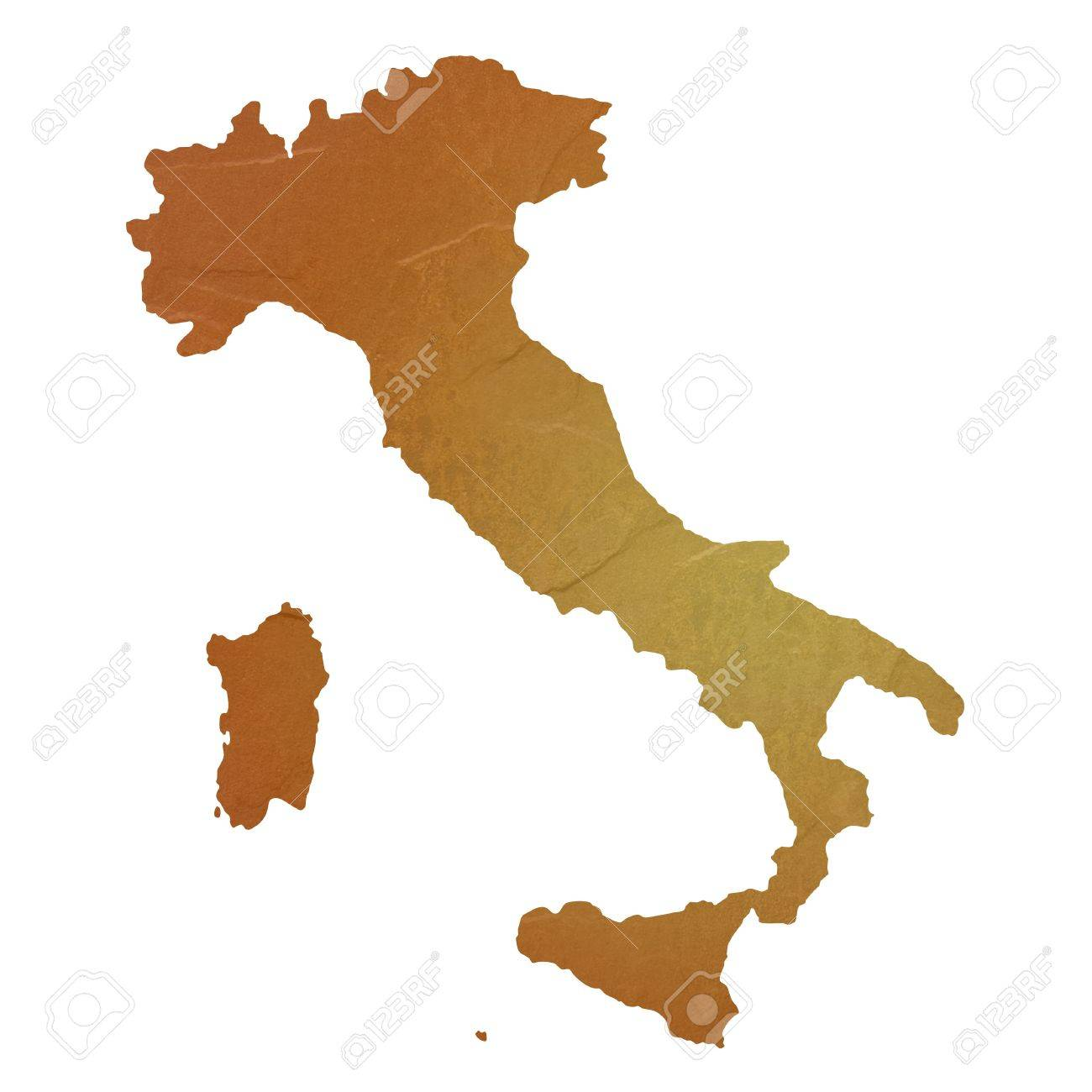 Textured map of Italy map with brown rock or stone texture, isolated on white background - 14742889