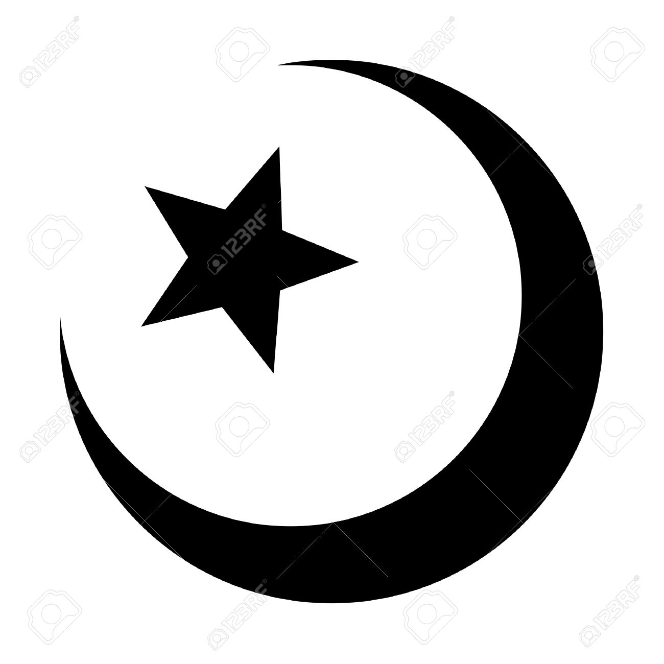 religious islamic star and crescent muslim sign isolated on a religious islamic star and crescent muslim sign isolated on a white background stock photo