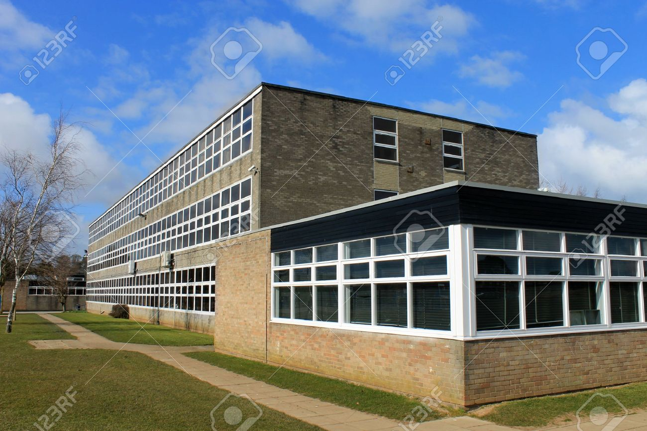 Exterior of secondary school building, Scarborough, England. - 19427713
