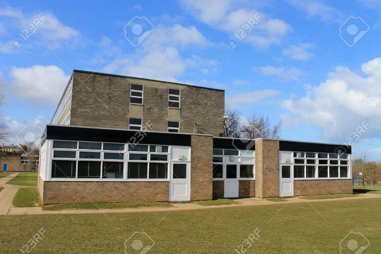 Exterior of secondary school building in Scarborough, England - 19427714