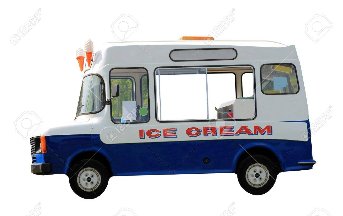 Side view of ice cream van isolated on white background. - 20112451