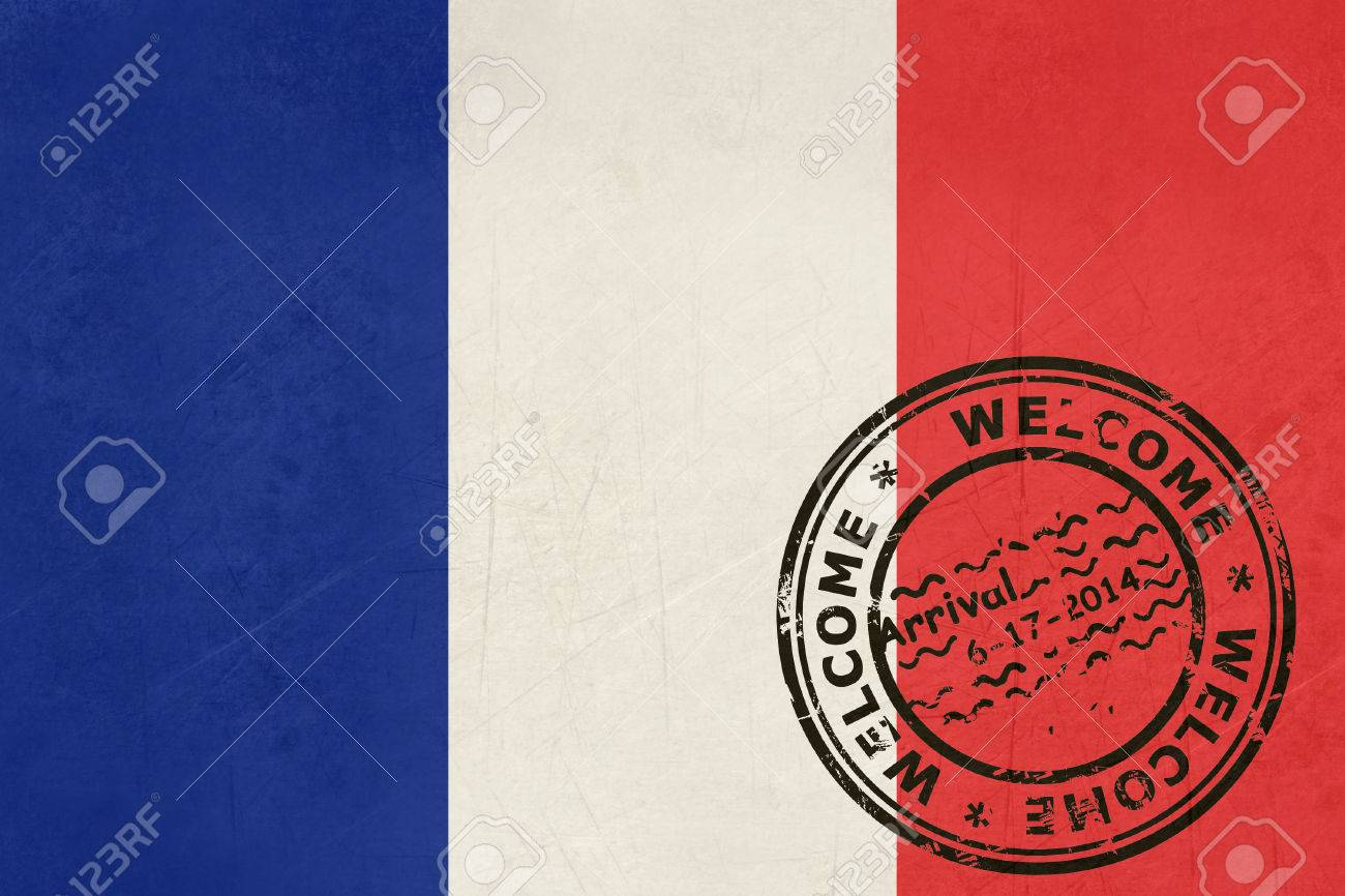 welcome to france flag with passport stamp stock photo picture