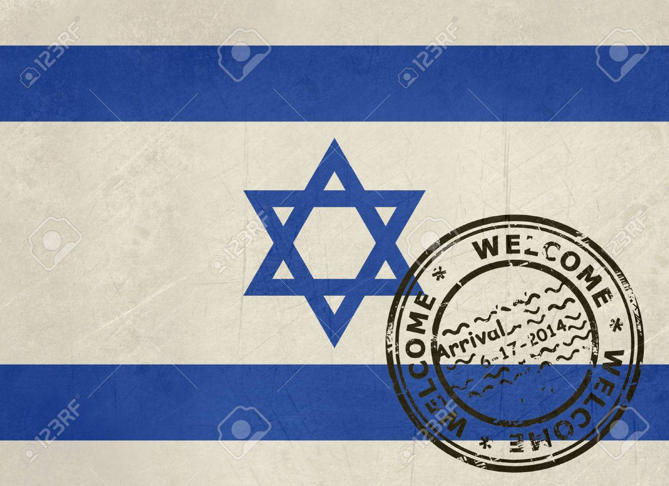 Welcome To Israel Flag With Passport Stamp Stock Photo Picture And