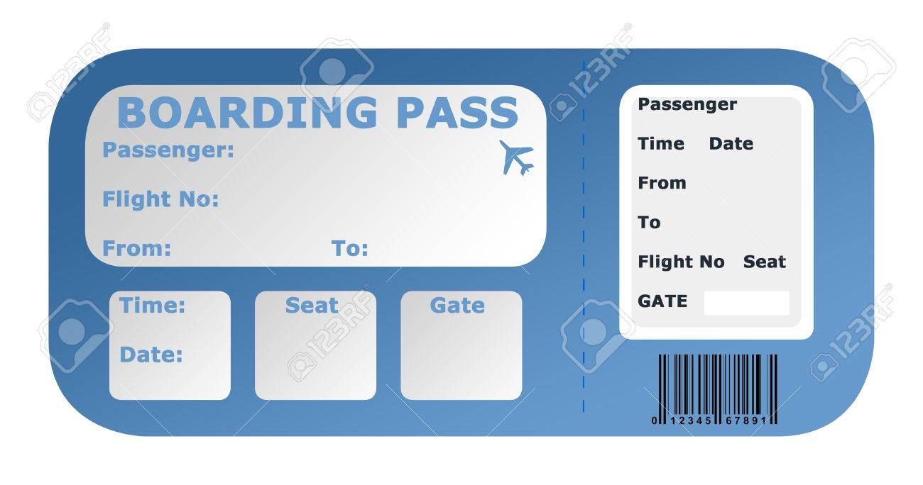 Aircraft Boarding Pass Isolated On A White Background Stock Photo