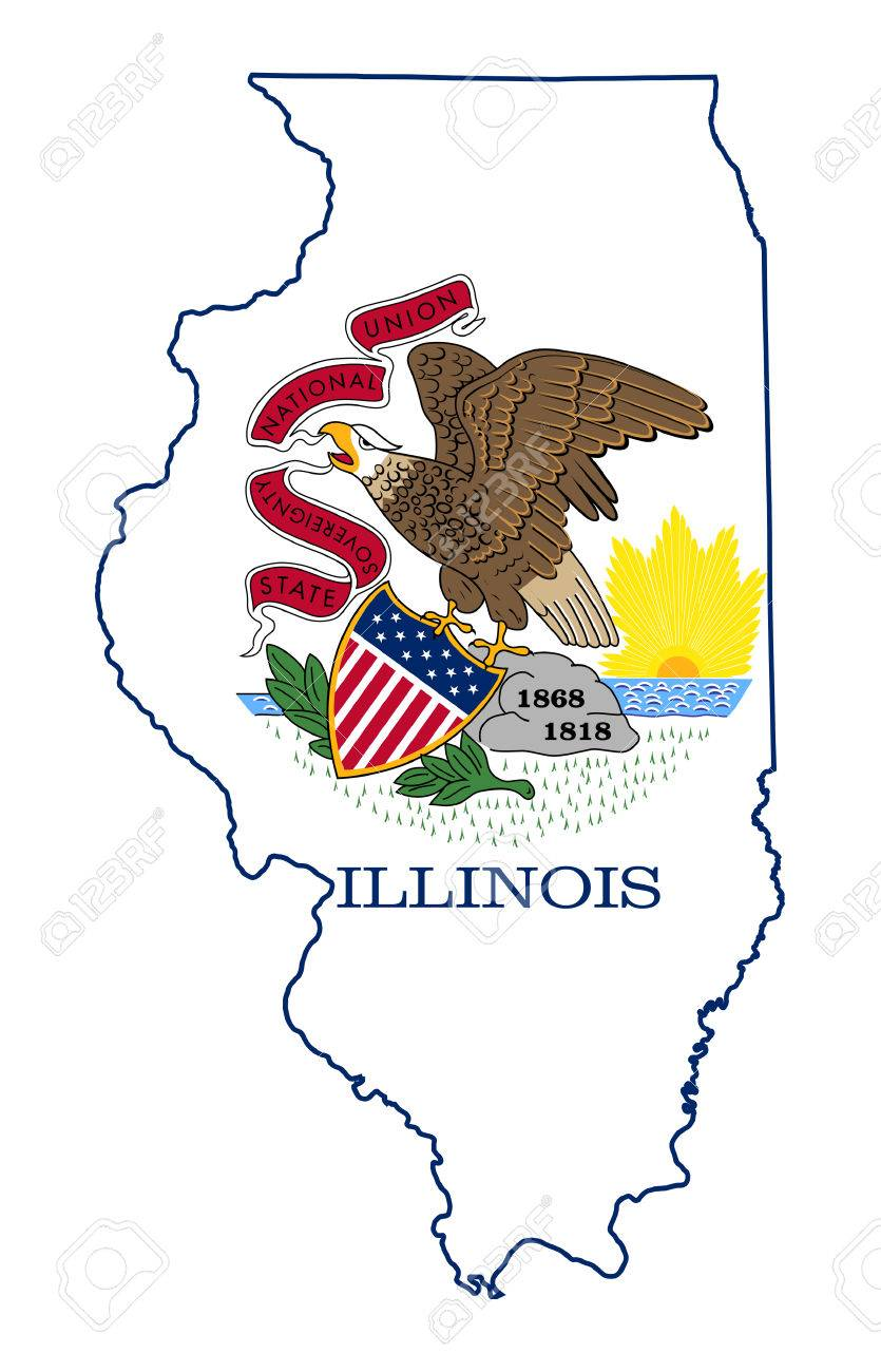 State Of Illinois Flag Map Isolated On A White Background USA - Usa map illinois