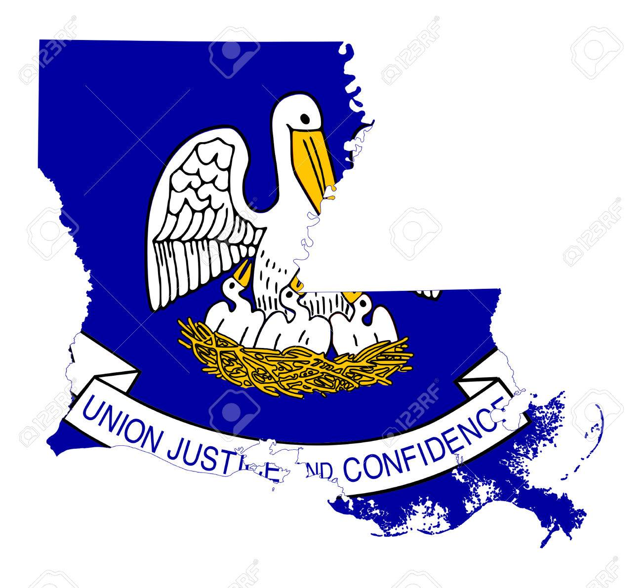 State Of Louisiana Flag Map Isolated On A White Background USA - Louisiana on usa map