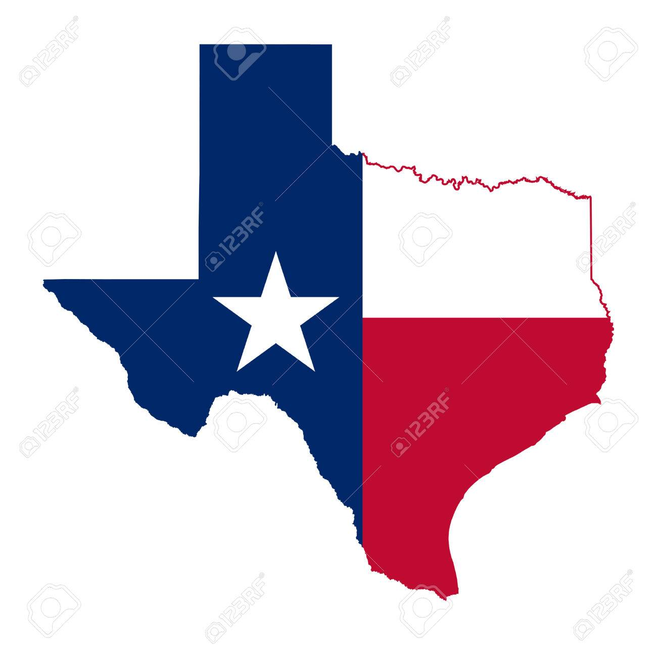 State of Texas flag map isolated on a white background, U.S.A. - 25983995
