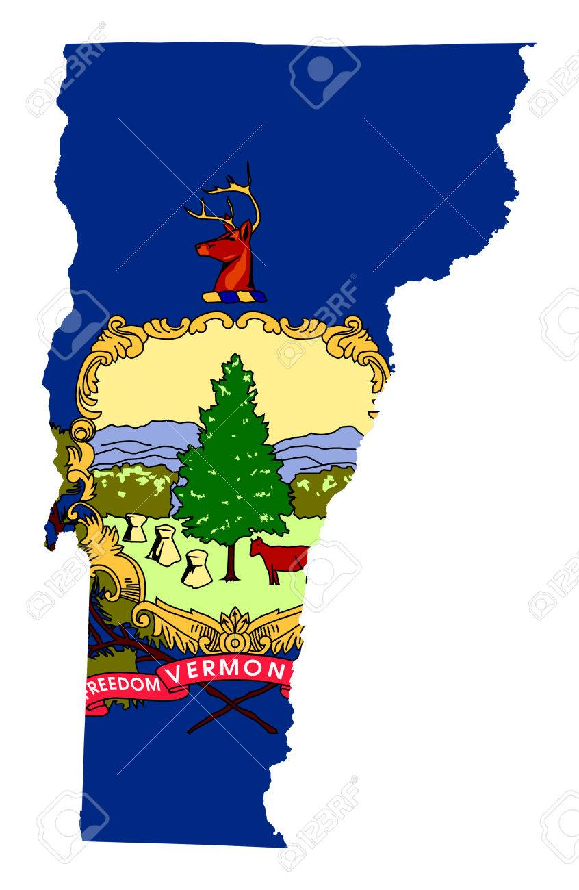 State Of Vermont Flag Map Isolated On A White Background USA