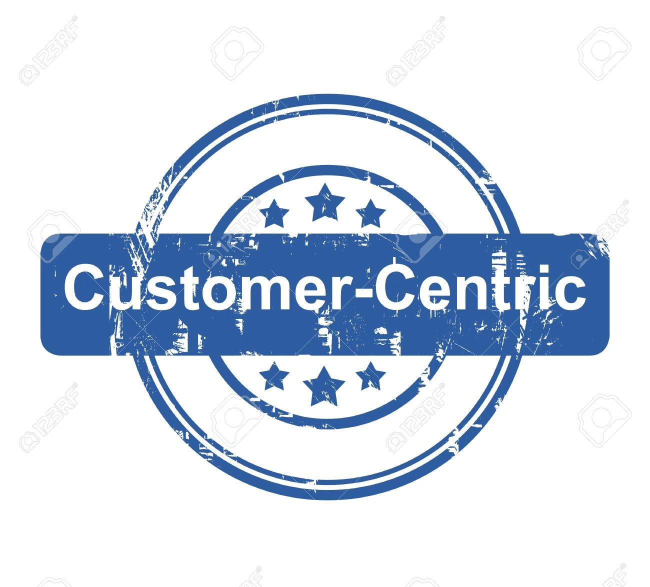 Customer Centric business concept stamp with stars isolated on a white background. - 35080180