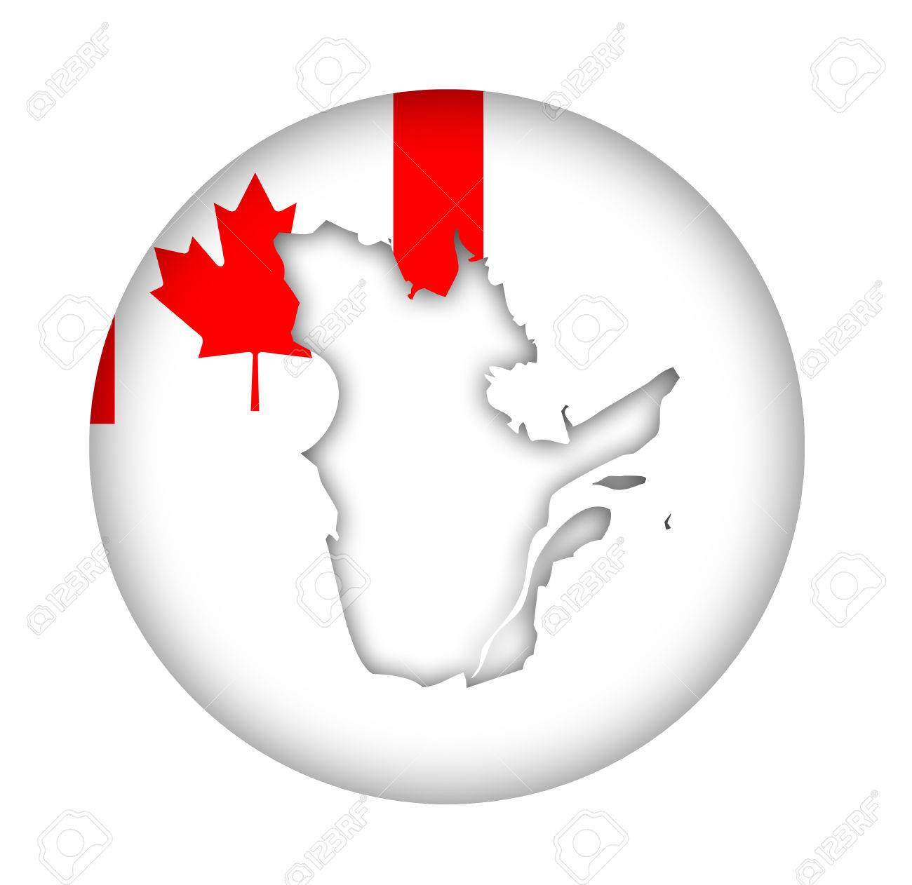 Canada State Of Quebec Map Flag Button Isolated On A White