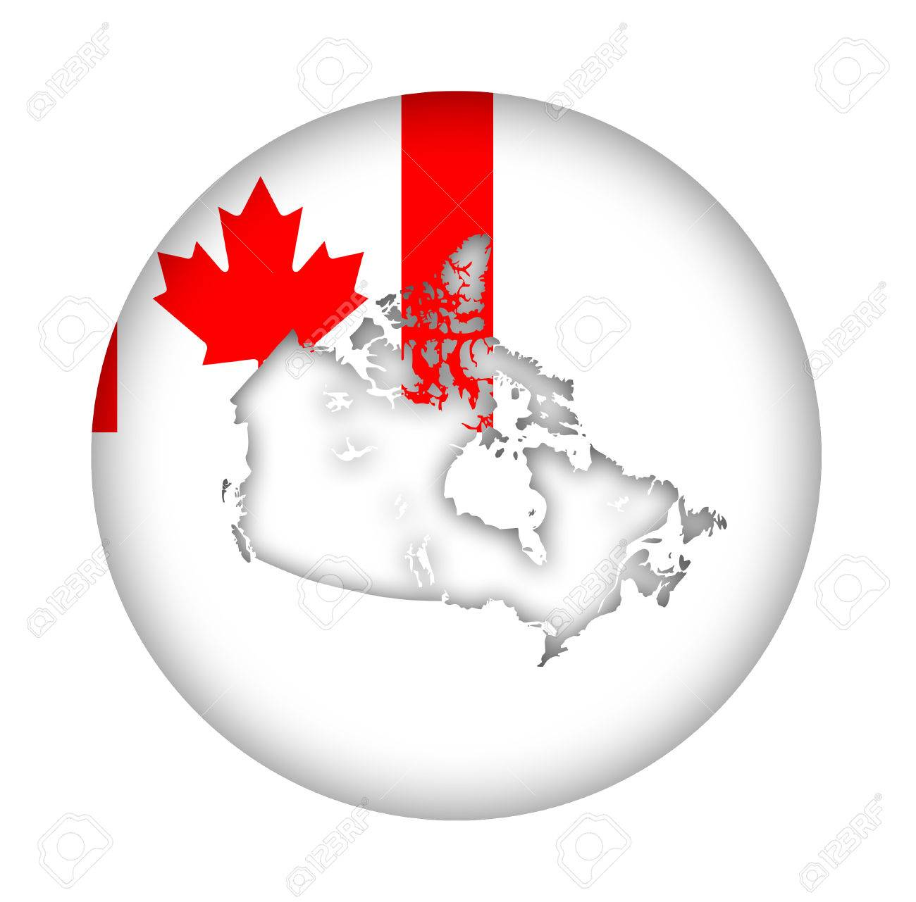 Canada Map Flag.Canada Map Flag Button Isolated On A White Background Stock Photo
