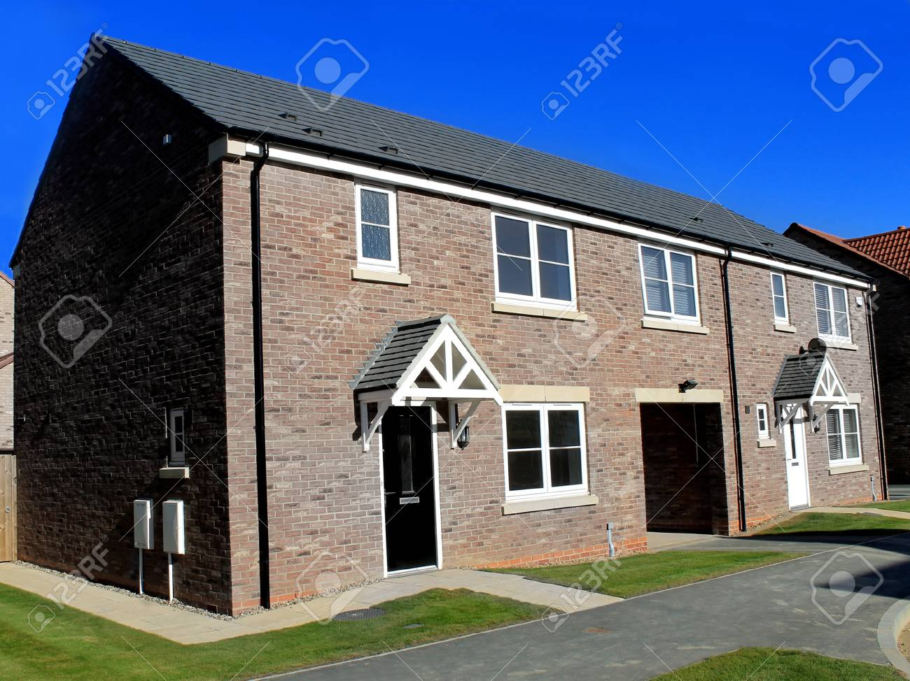 New unoccupied modern houses on a housing estate in eastfield scarborough england stock