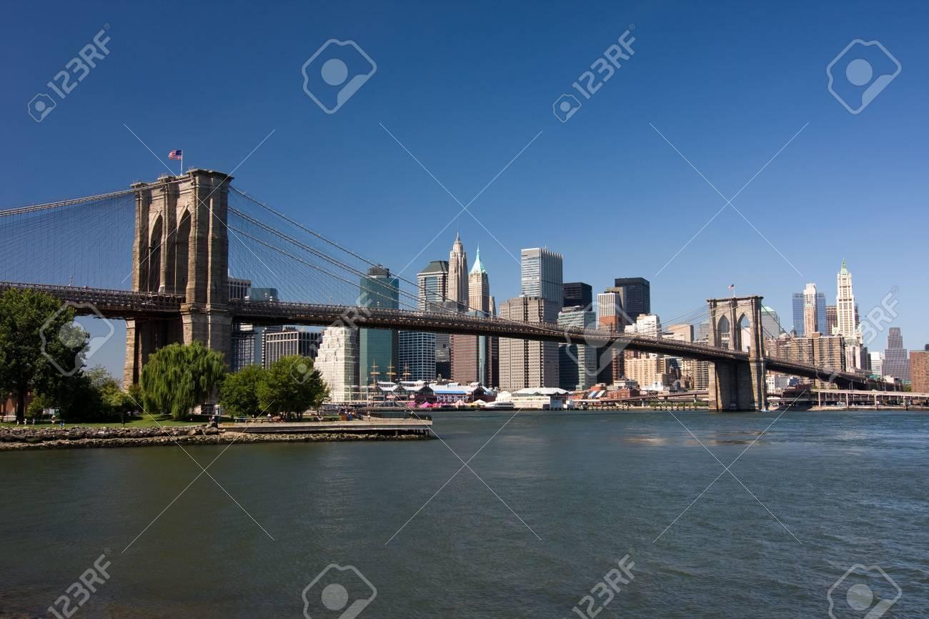 Brooklyn Bridge and lower Manhattan, New York Stock Photo - 4881894