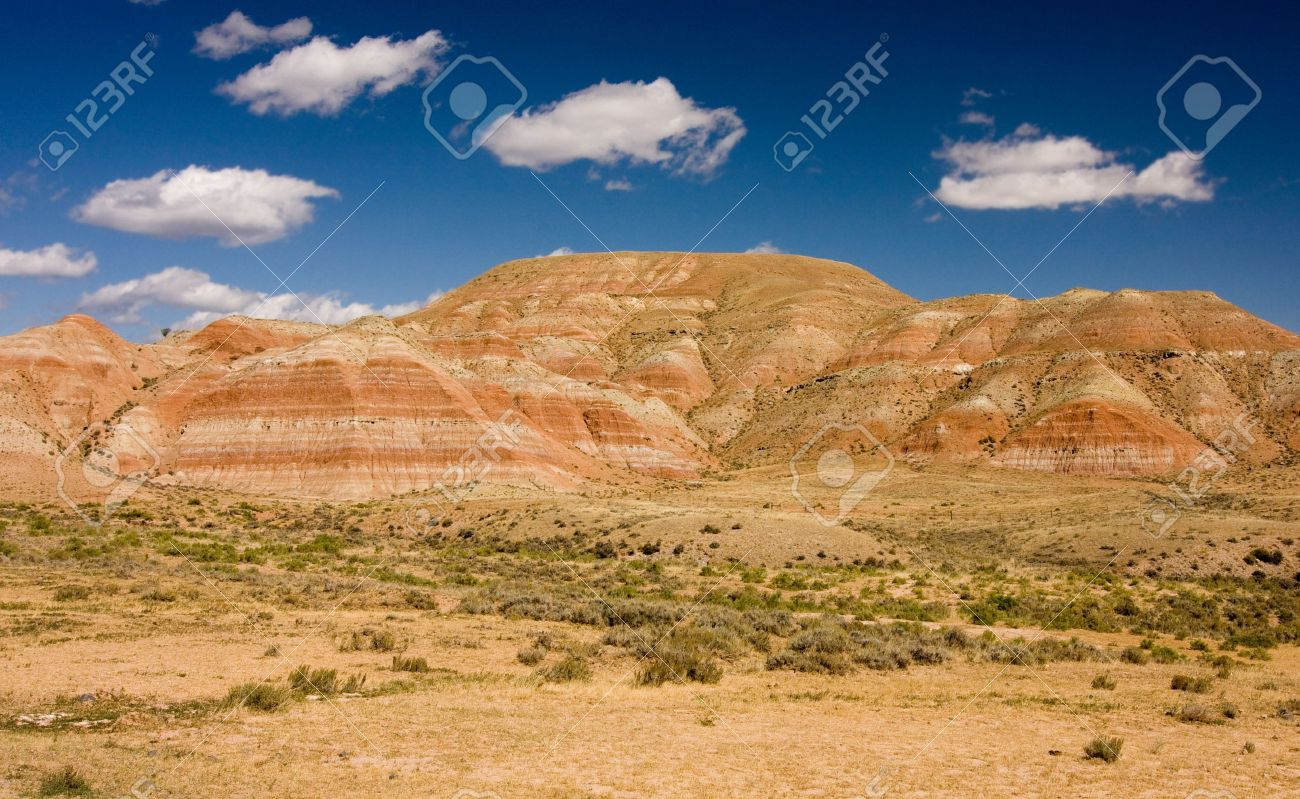 Desert and mountains under the blue sky Stock Photo - 4881877