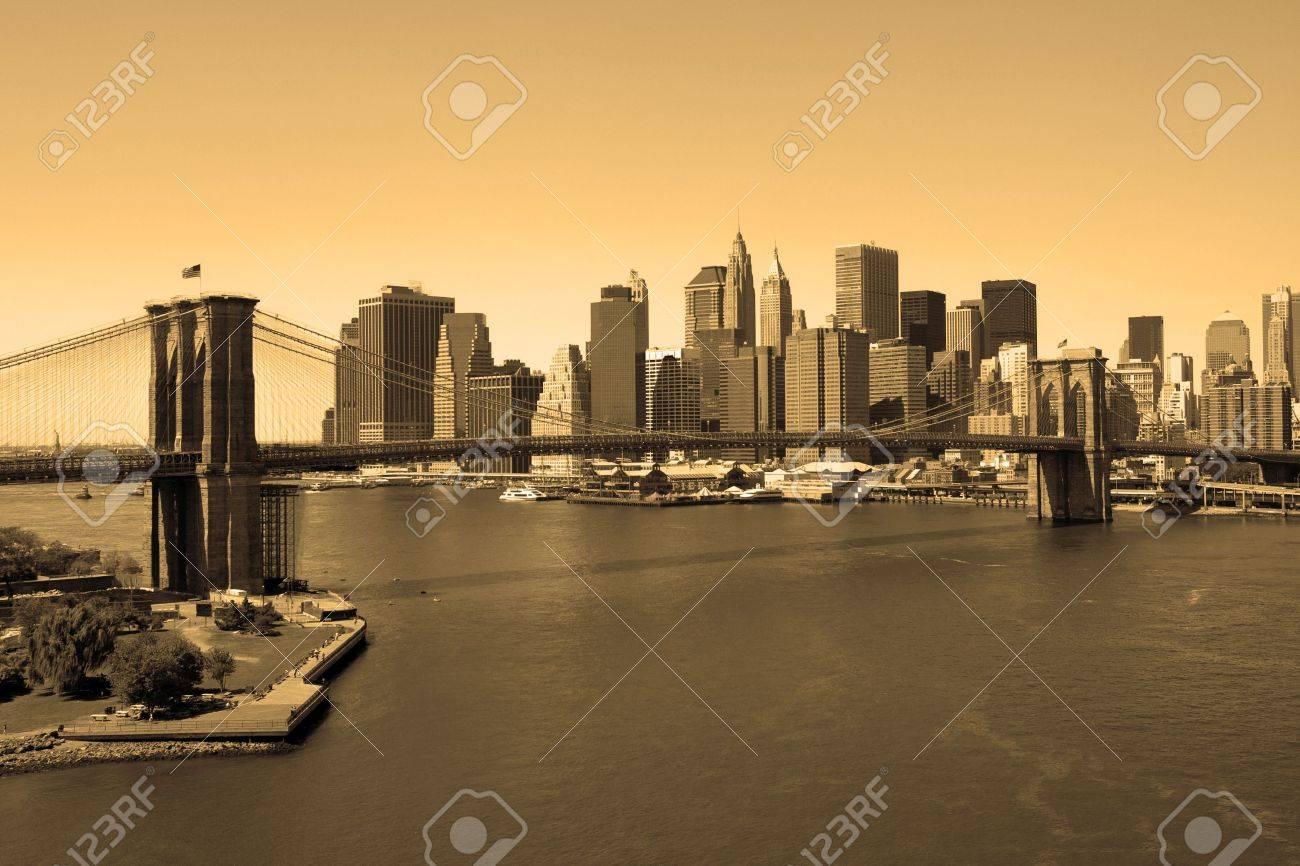 Brooklyn Bridge and Manhattan in sepia, view from Manhattan bridge Stock Photo - 4895233