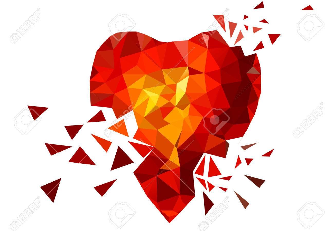 Triangle Broken Heart. Red. Yellow. Orange. Love - 47221126