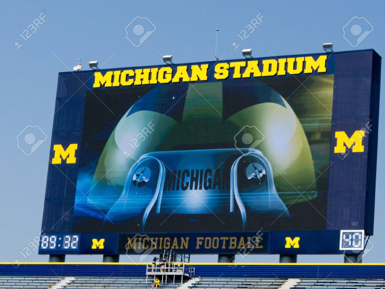 The University of Michigan Wolverines opened their 2011 football season on Saturday, Sept. 3, with new scoreboards at the Big House in Ann Arbor and a new coach, Brady Hoke. Stock Photo - 10466408