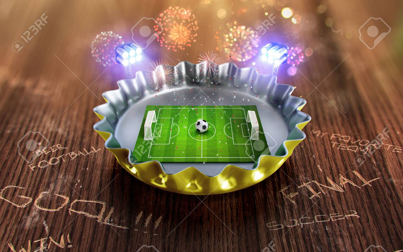 Football championship in the yellow Beer cap. 3d render - 84561907