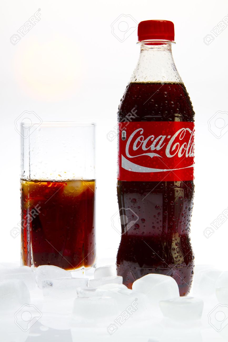 Coca Cola  with glass and ice on white background Stock Photo - 9129145