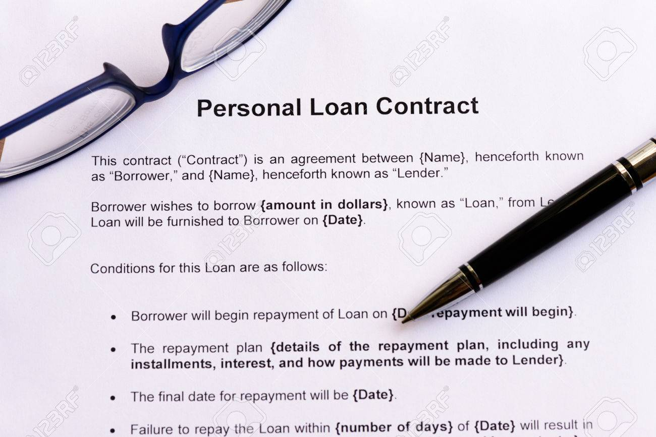 Personal Loan Contract On The White Paper With Pen Photo – Loan Contract
