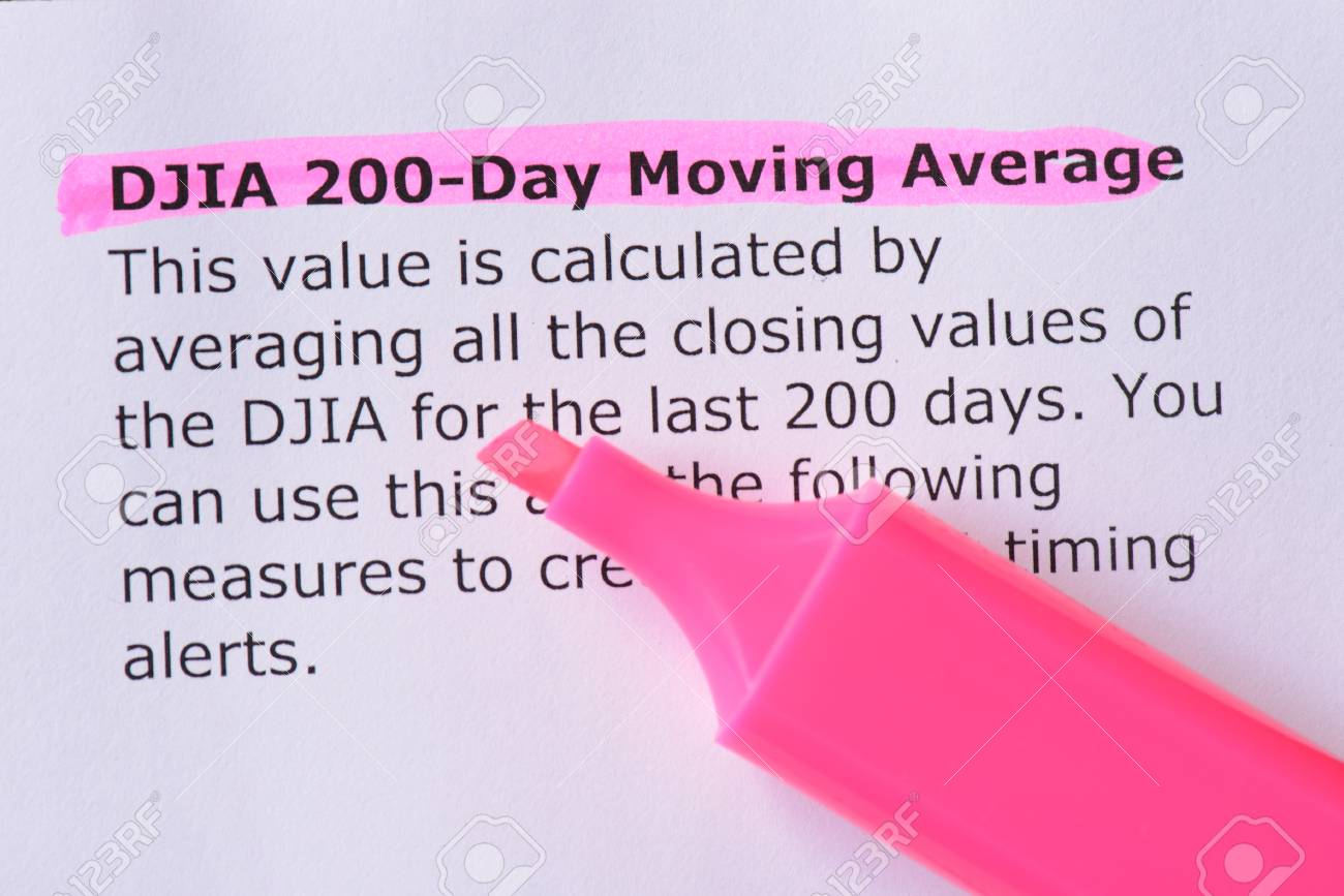 DJIA 200-Day Moving Average words highlighted on the white