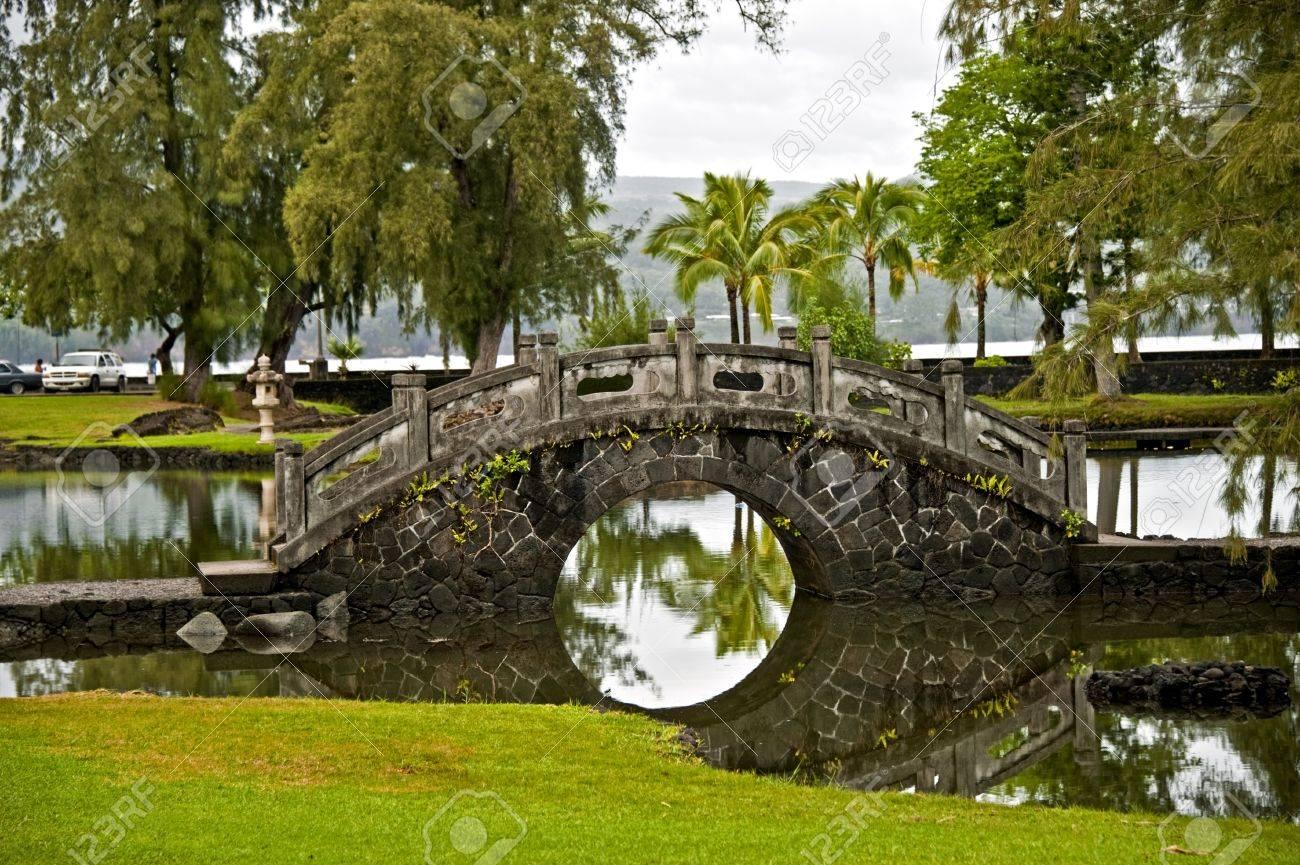 Stone Bridge In The Japanese Garden Hilo Hawaii Stock Photo