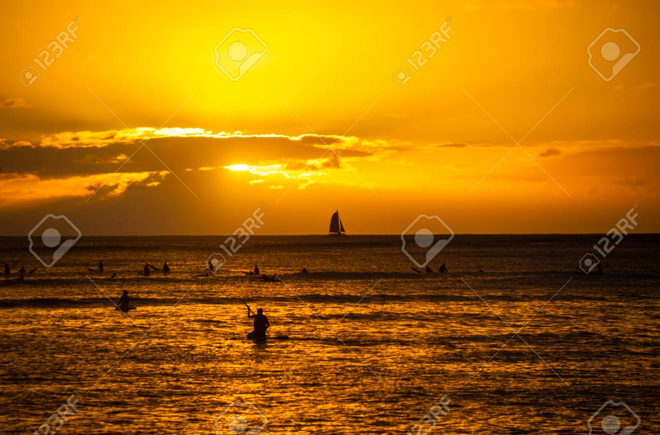 Sunset At Waikiki Beach In Honolulu Hawaii
