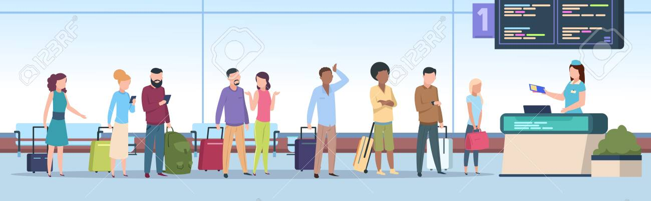 Airport queue. Airplane passengers check registration airport terminal. Traveling people, baggage waiting in line gate. Vector concept - 125412287