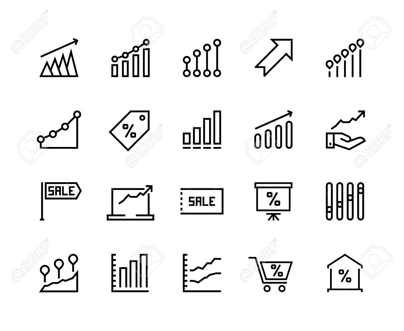 Sale Graph Line Icons Marketing Business Progress Dollar Chart
