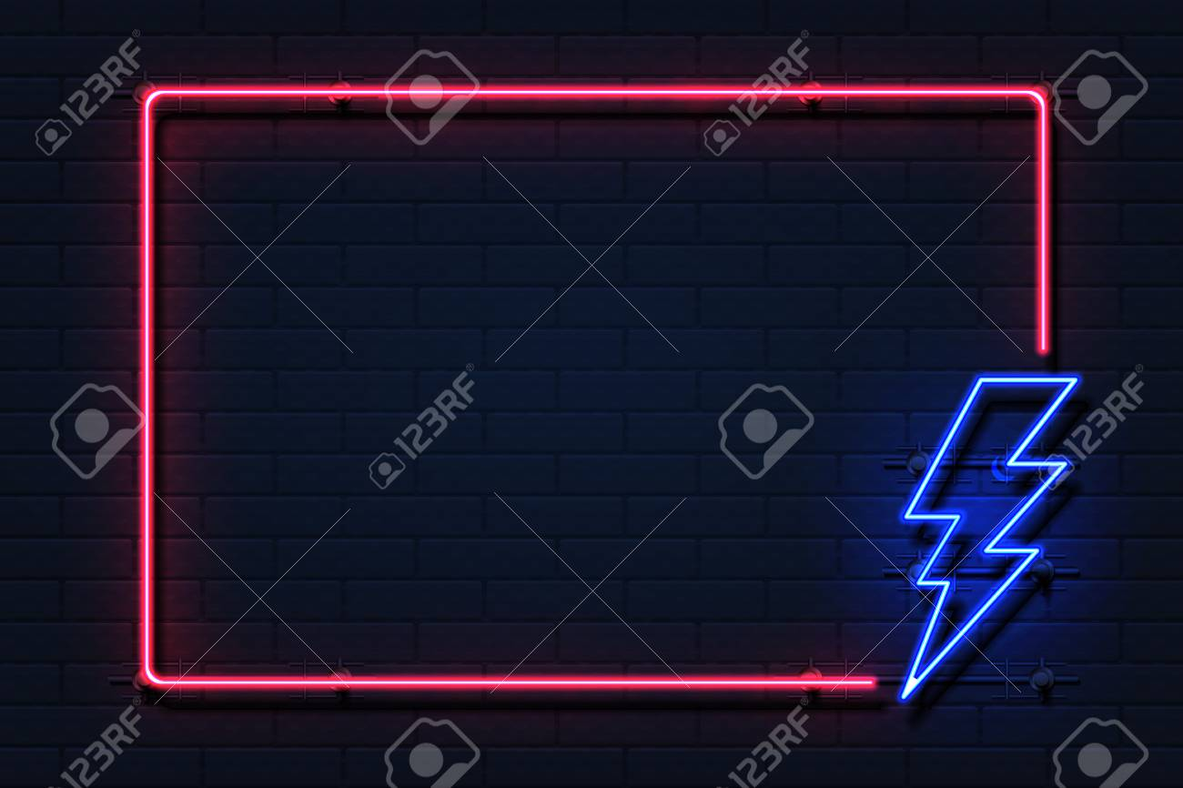 Neon Lightning Frame Electricity Power Flash Logo On Black Background Royalty Free Cliparts Vectors And Stock Illustration Image 118198971