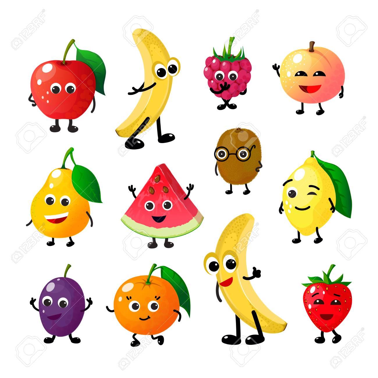 Cartoon funny fruits. Happy apple banana raspberry peach pear watermelon lemon strawberry faces. Summer fruit berry vector characters - 124996779