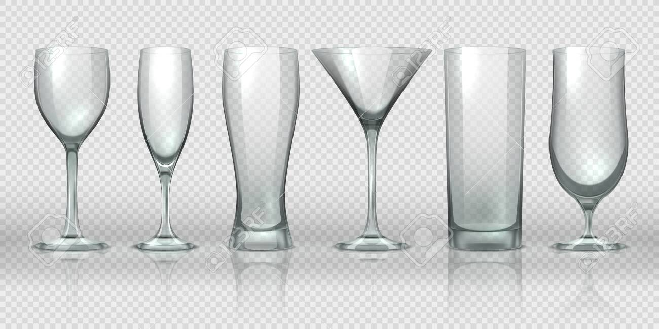 Glass Cups Empty Transparent Glasses And Goblet Mockups