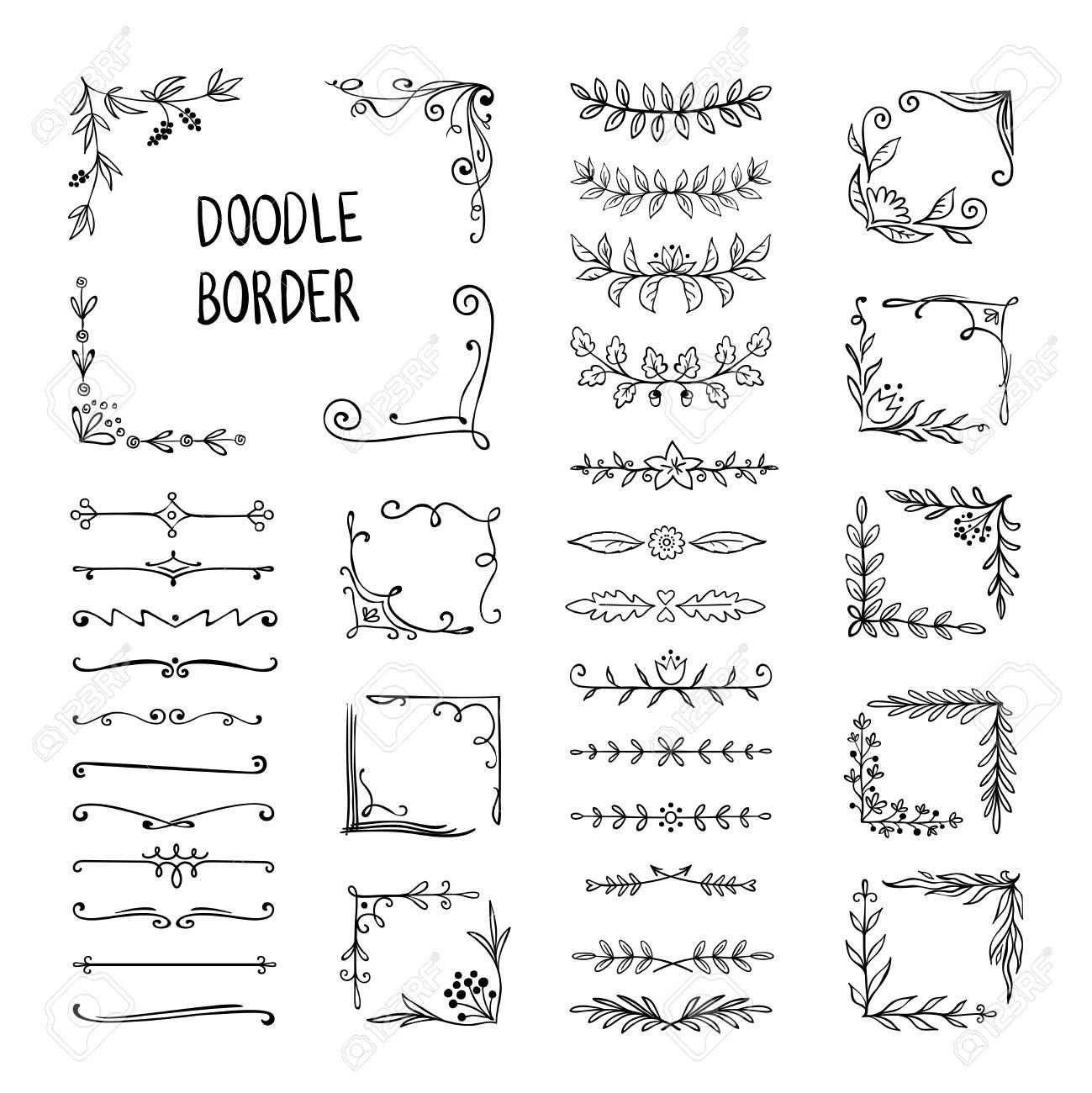 Doodle border. Flower ornament frame, hand drawn decorative corner elements, floral sketch pattern. Vector doodle frame elements - 122164640