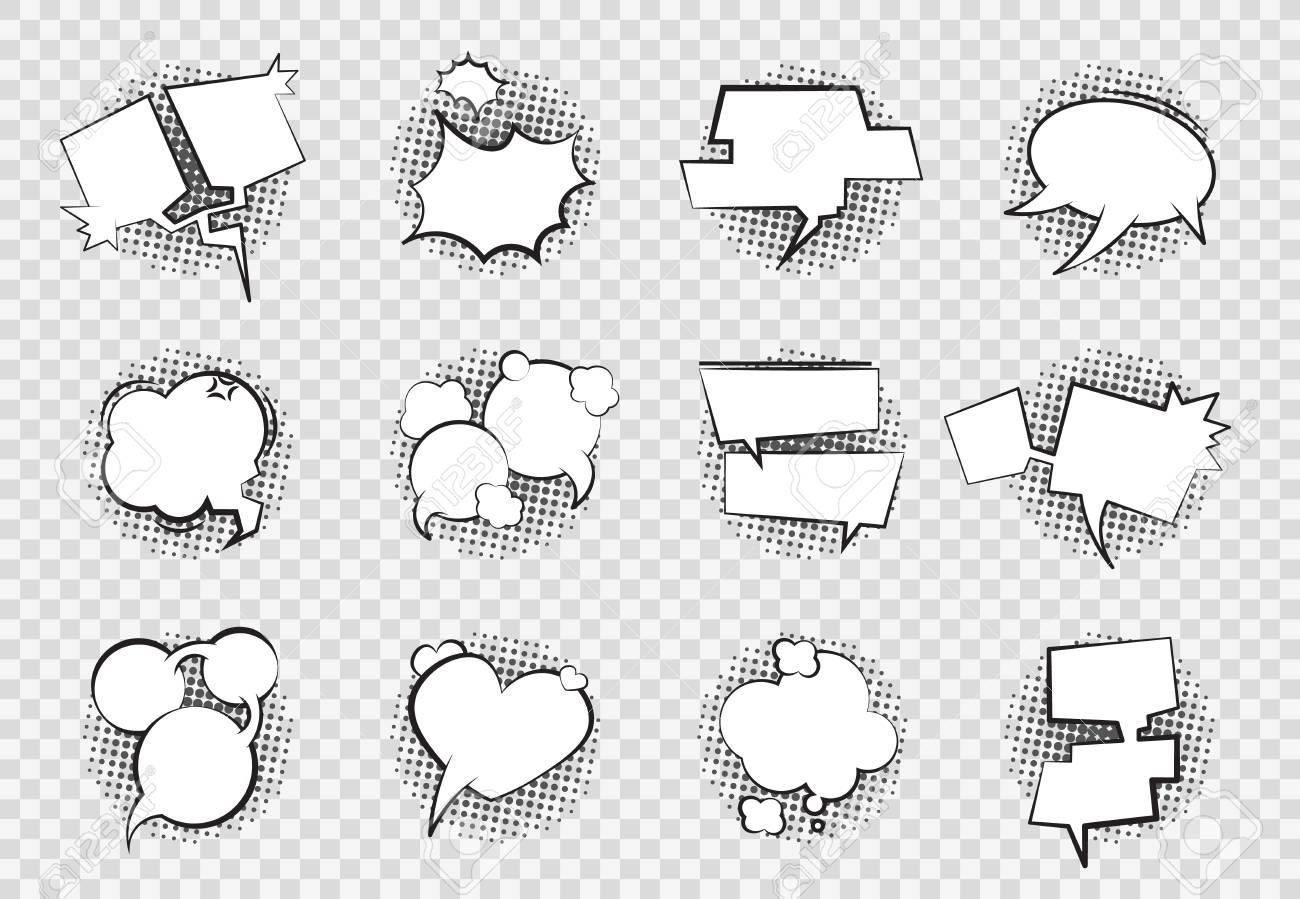 Comic Speech Bubbles. Cartoon chat balloon boom splash art empty white dialog bubble talk shape retro drawing. Vector comics bubbles set - 122164646