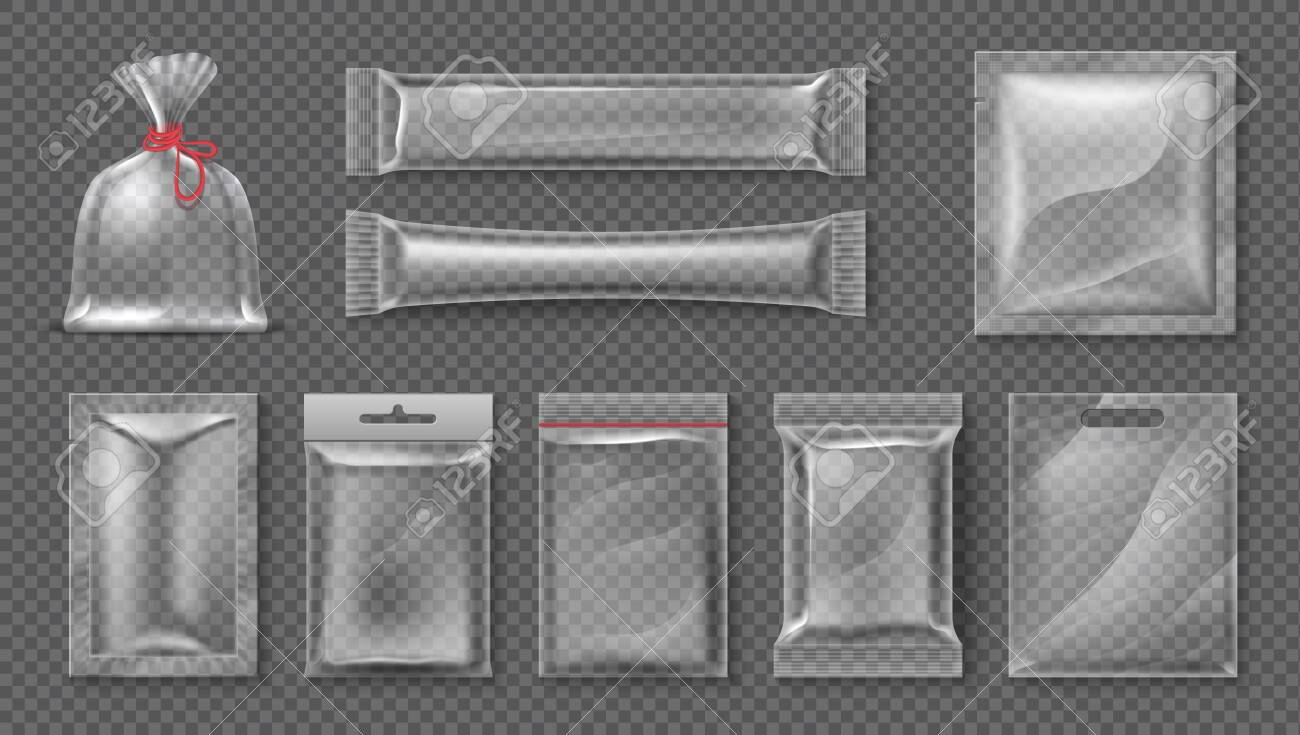Plastic package. Realistic clear bag mockup, 3d transparent food product pack set, blank glossy foil. Vector candy snack container set - 122318263