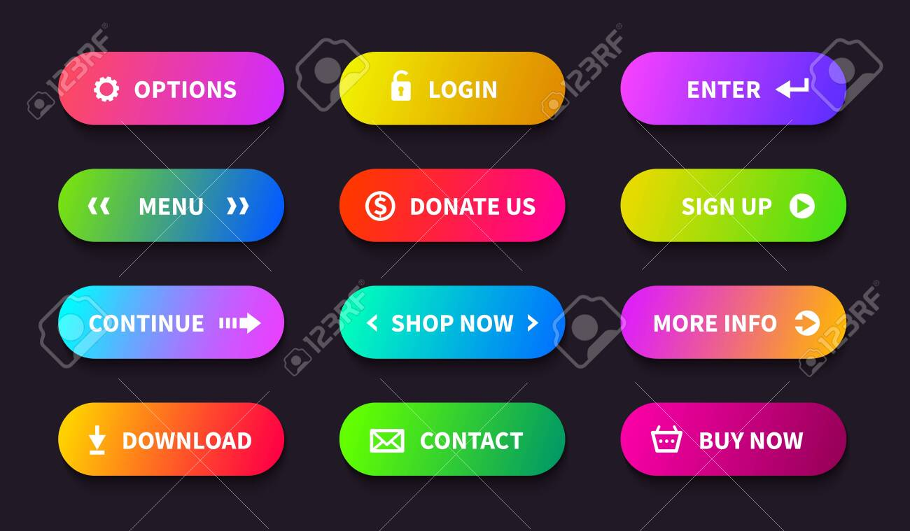 Gradient action button  Shop download banner, flat oval interface,