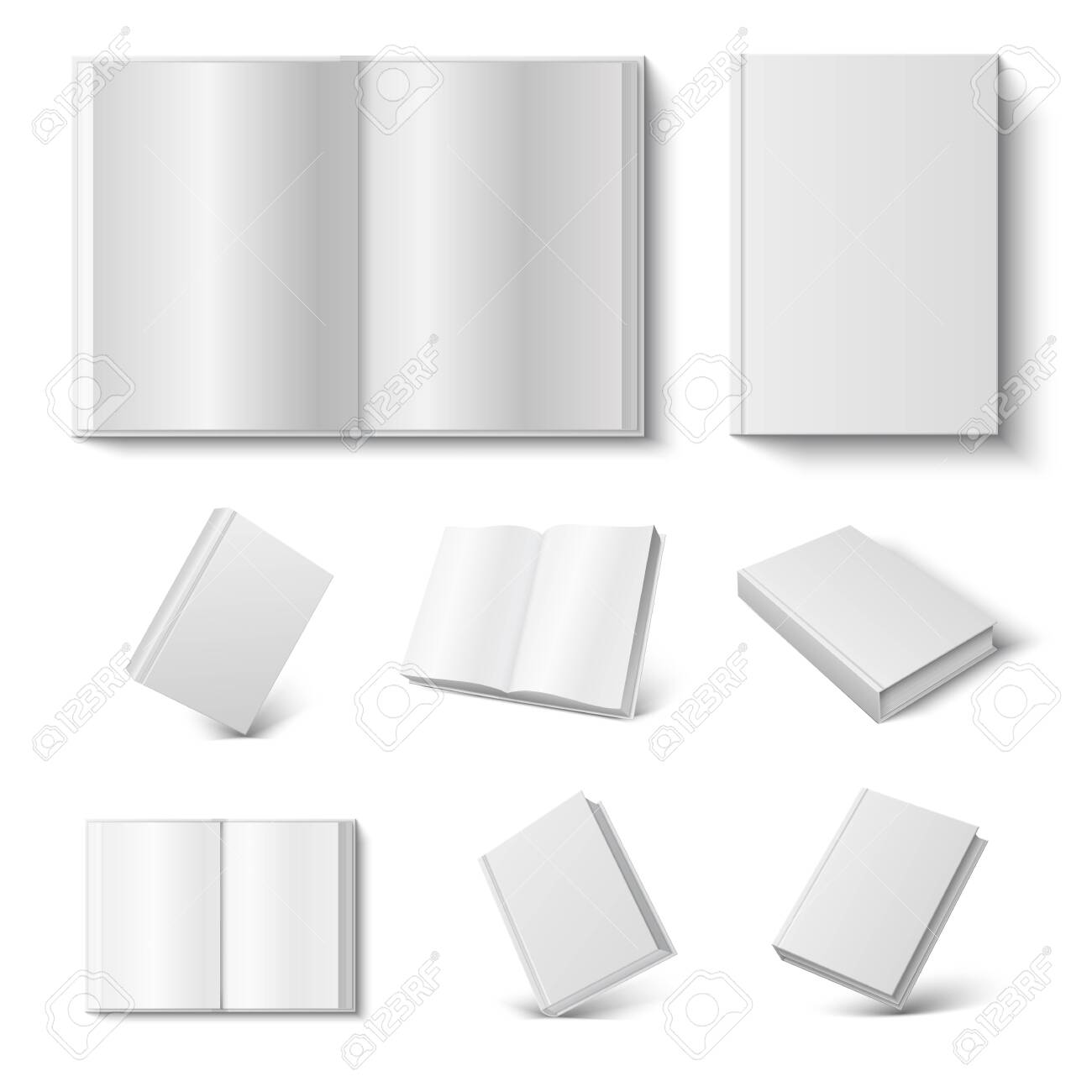 Realistic book. 3d mock up open and closed diary with blank hard cover on white background. Vector illustration booking mock up magazine set - 122318689