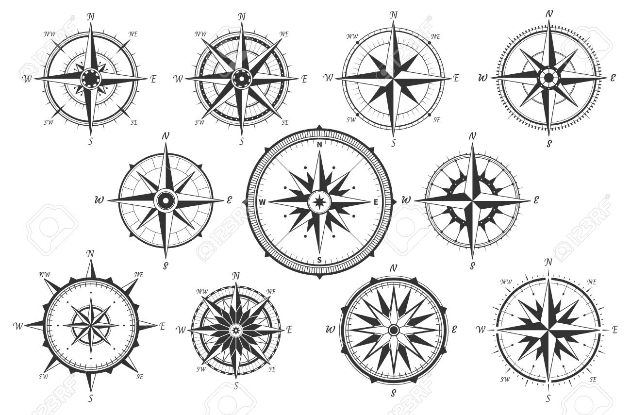 Wind rose. Map directions vintage compass. Ancient marine wind measure vector icons isolated. Isolated old sea or ocean navigation compass for ocean or marine retro cartography, boat or ship - 122318690