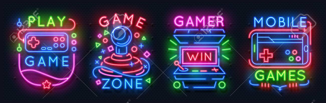 Neon game signs  Retro video games night light icons, virtual