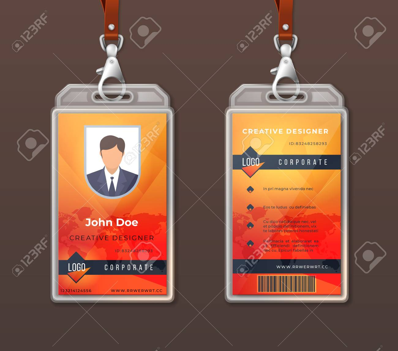 Id Card Corporate Identity Employee Access Badge Design Template Royalty Free Cliparts Vectors And Stock Illustration Image 125296008