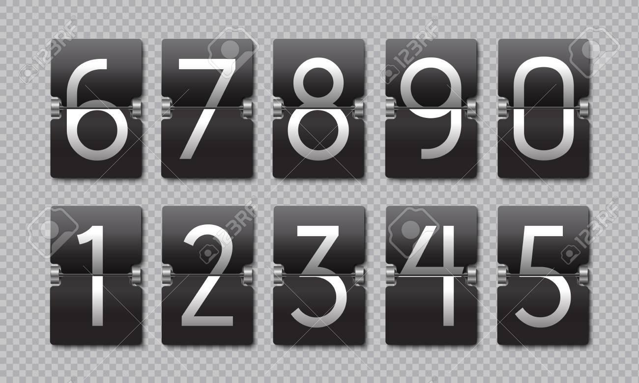 Countdown black flip clock  Scoreboard retro panel, analog remaining