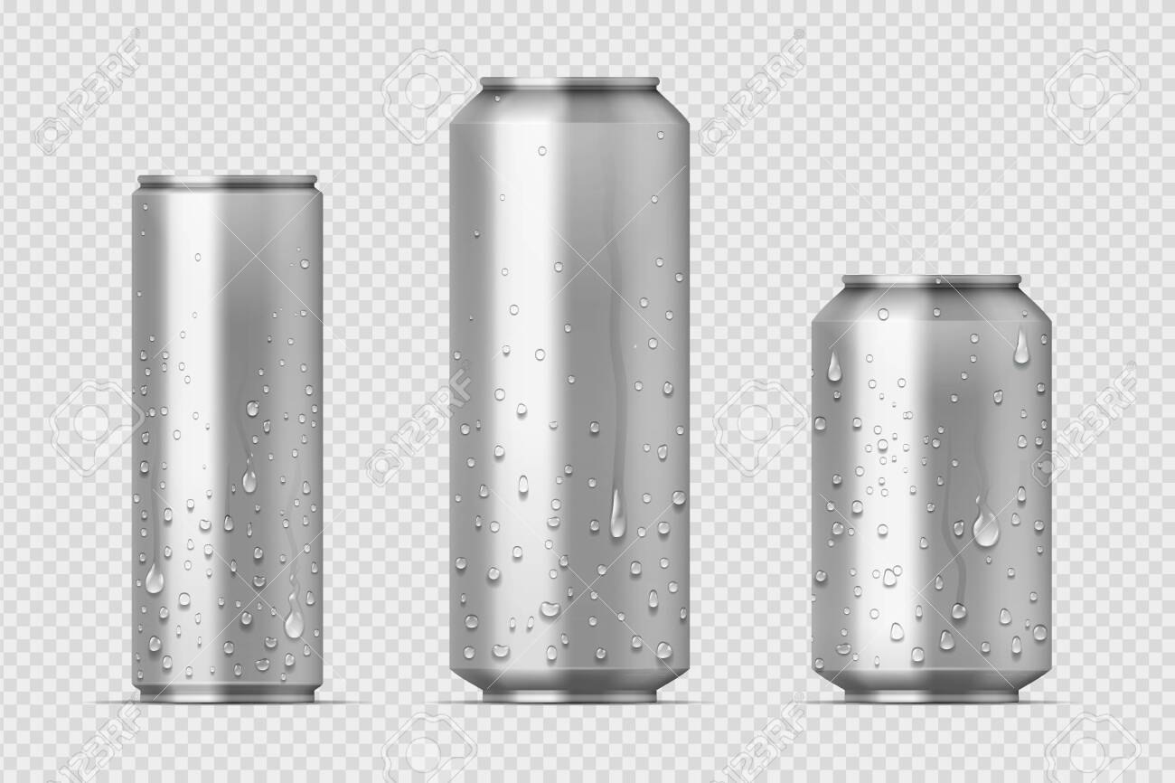 Realistic metal cans. Aluminum bear soda and lemonade cans with water drops, energy drink blank mockup. Vector isolated set canned beverages with water condensation on transparent background - 127398483