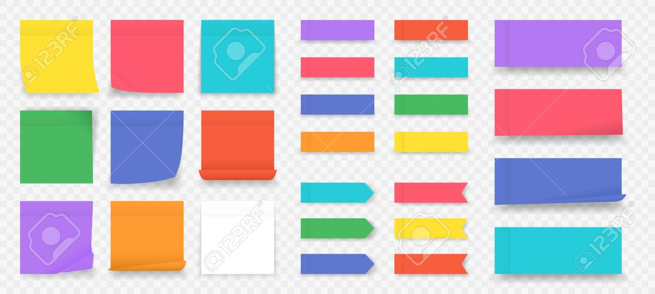 Sticky notes. Paper colored square reminders isolated on transparent background, empty notebook page. Vector illustration blank colorful sticky paper sheet to do note in office - 130831183