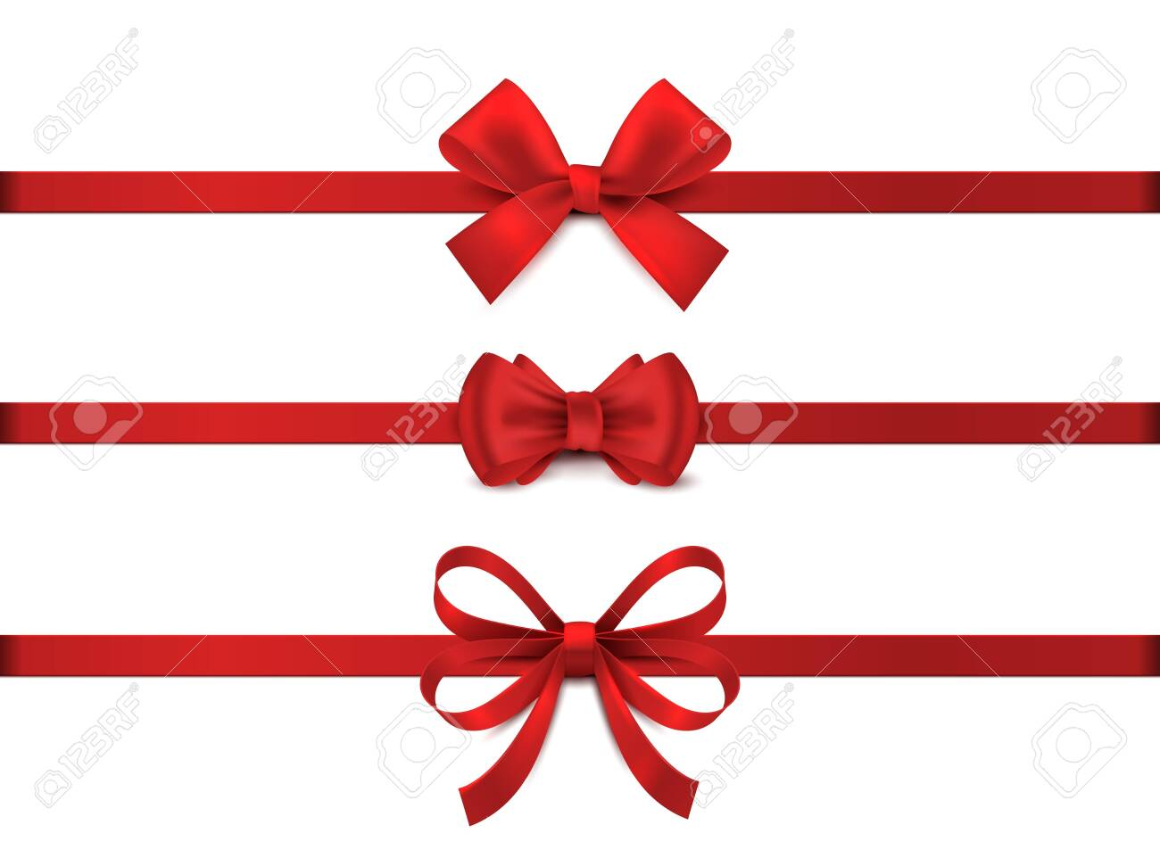 Red realistic bow. Horizontal red ribbon collection. Holiday gift decoration, valentine present tape knot, shiny sale ribbons set. Vector illustration christmas tie for gifts on white background - 134022046