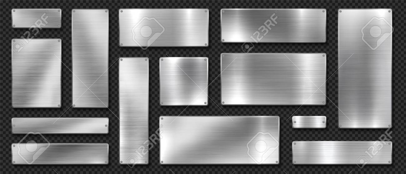 Metal banners. Realistic stainless steel boards with scratched grunge texture and silver shine. Vector metal signs and plates set, riveted image plaque or alloy plating on black transparent background - 135223822
