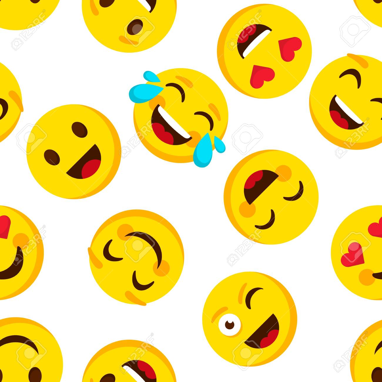 137874215 emoticon seamless pattern emotions cartoon emojis background funny cute faces cartoon kid vector wal