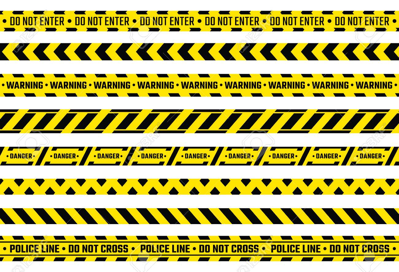 Caution tape. Yellow attention ribbon with warning signs, police evidence protection and construction protection tape. Vector isolated illustration safety stripe for safety border working construction - 138443650