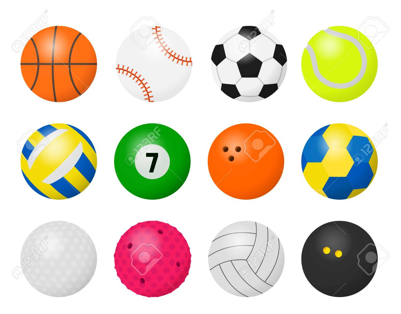 Sport Balls Cartoon Equipment For Playing Sport Games Football Royalty Free Cliparts Vectors And Stock Illustration Image 140508901