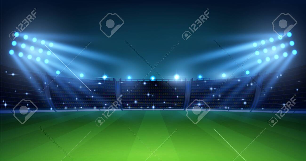 Realistic football arena. Soccer playing field at night with illuminate bright stadium lights, green grass and tribunes. Vector illustration background for football championship or match team - 142140182